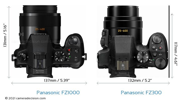 Panasonic FZ1000 vs Panasonic FZ300 Camera Size Comparison - Top View