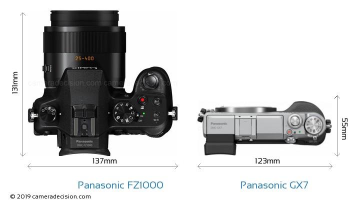 Panasonic FZ1000 vs Panasonic GX7 Camera Size Comparison - Top View