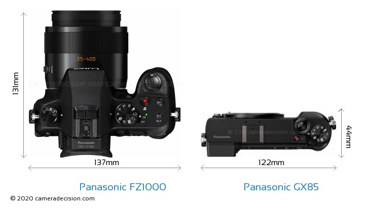 Panasonic FZ1000 vs Panasonic GX85 Camera Size Comparison - Top View