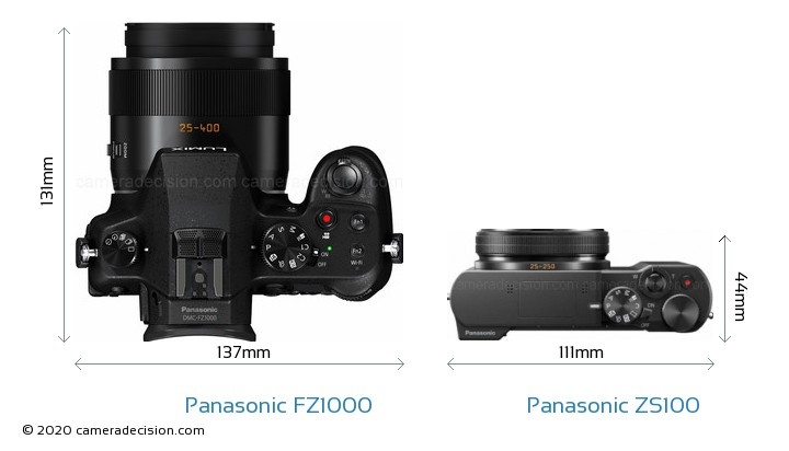 Panasonic FZ1000 vs Panasonic ZS100 Camera Size Comparison - Top View