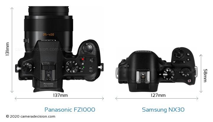 Panasonic FZ1000 vs Samsung NX30 Camera Size Comparison - Top View