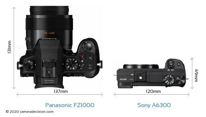 Panasonic FZ1000 vs Sony A6300 Camera Size Comparison - Top View