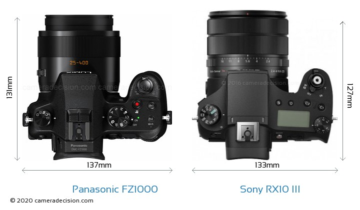 Panasonic FZ1000 vs Sony RX10 III Camera Size Comparison - Top View