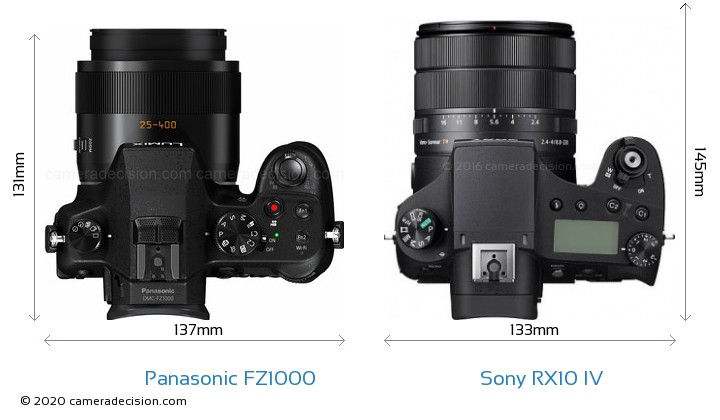 Panasonic FZ1000 vs Sony RX10 IV Camera Size Comparison - Top View