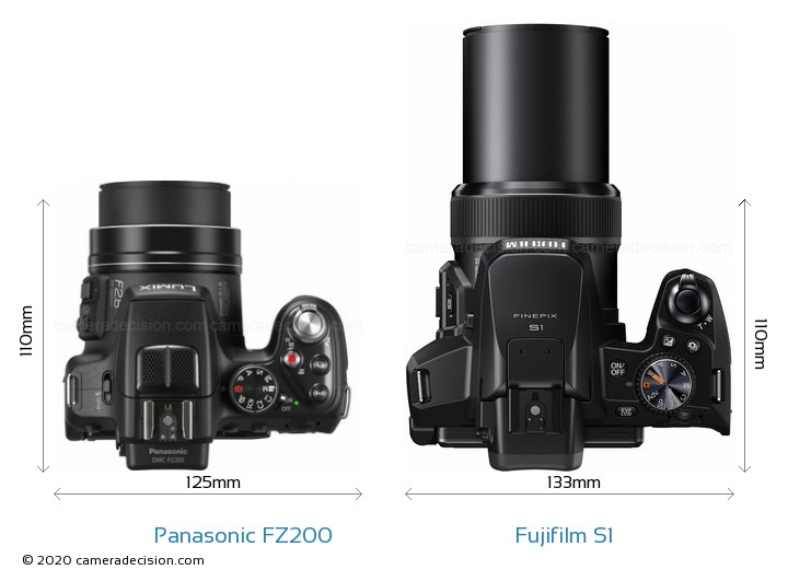 Panasonic FZ200 vs Fujifilm S1 Camera Size Comparison - Top View