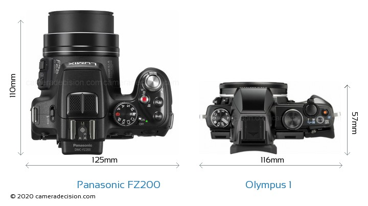 Panasonic FZ200 vs Olympus 1 Camera Size Comparison - Top View