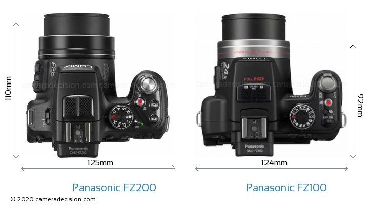 Panasonic FZ200 vs Panasonic FZ100 Camera Size Comparison - Top View