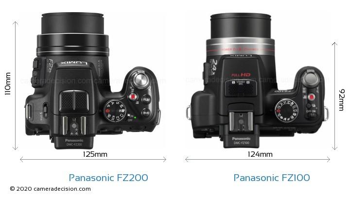 Panasonic FZ200 vs Panasonic FZ100 Camera Size Comparison - Top View