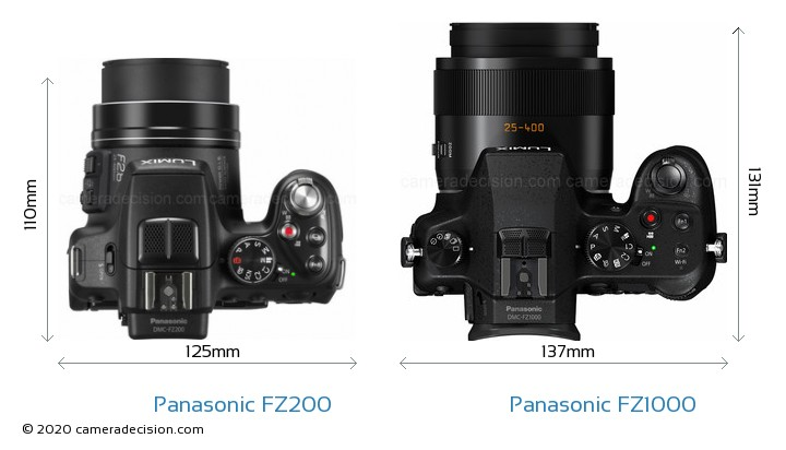 Panasonic FZ200 vs Panasonic FZ1000 Camera Size Comparison - Top View