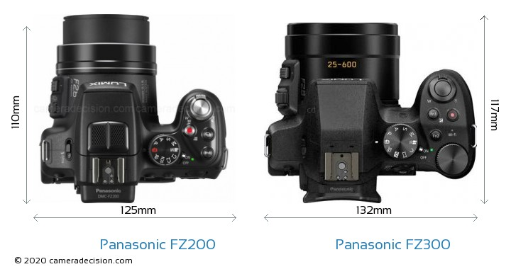 Panasonic FZ200 vs Panasonic FZ300 Camera Size Comparison - Top View