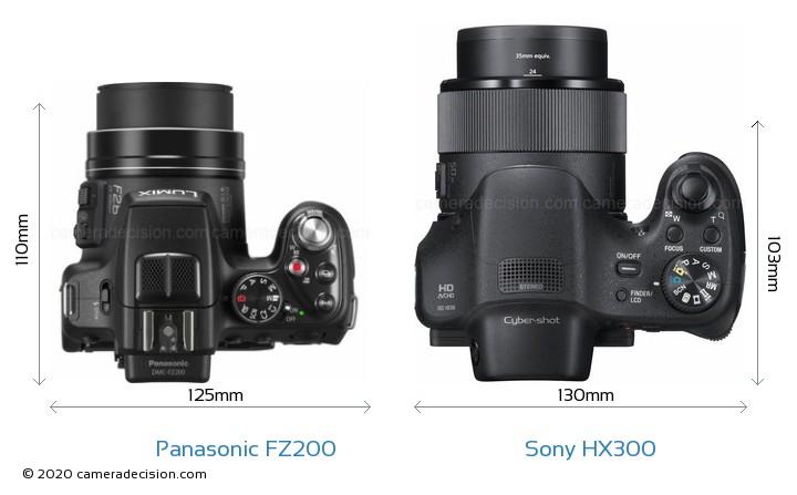 Panasonic FZ200 vs Sony HX300 Camera Size Comparison - Top View
