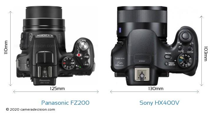 Panasonic FZ200 vs Sony HX400V Camera Size Comparison - Top View