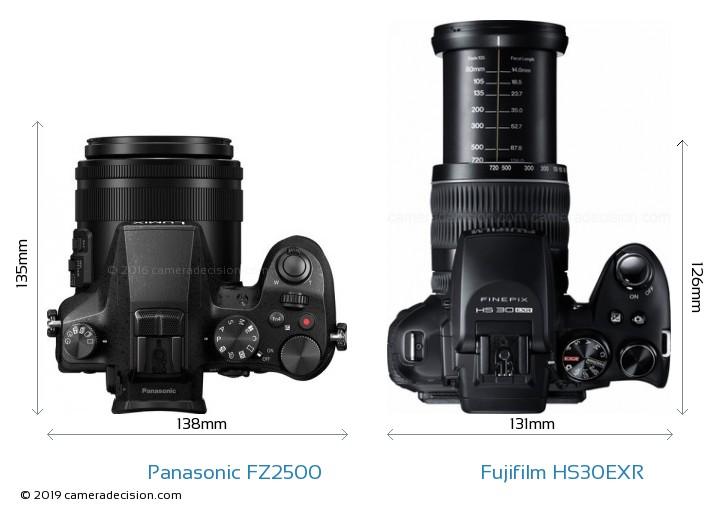 Panasonic FZ2500 vs Fujifilm HS30EXR Camera Size Comparison - Top View