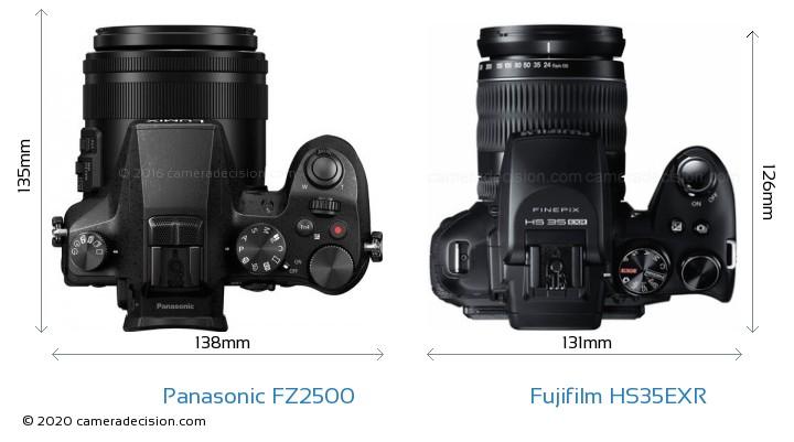 Panasonic FZ2500 vs Fujifilm HS35EXR Camera Size Comparison - Top View