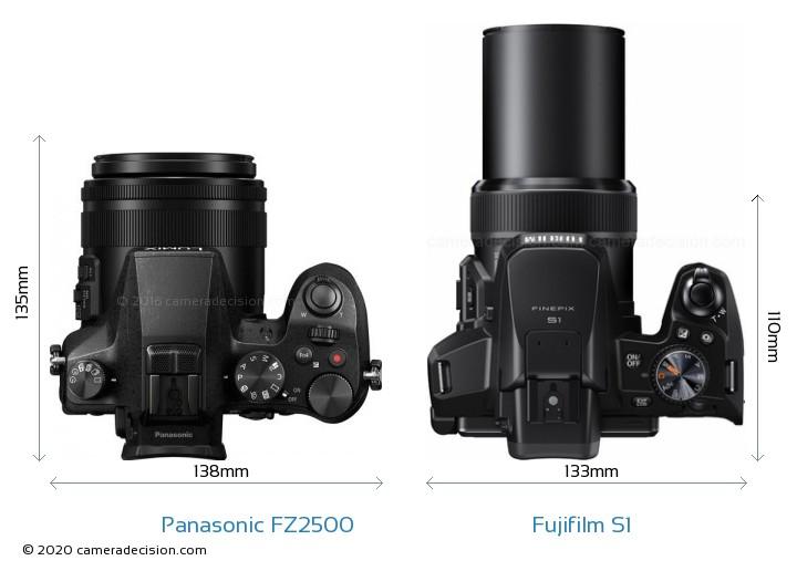 Panasonic FZ2500 vs Fujifilm S1 Camera Size Comparison - Top View