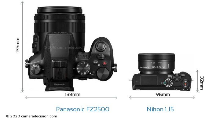 Panasonic FZ2500 vs Nikon 1 J5 Camera Size Comparison - Top View