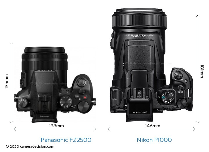 Panasonic FZ2500 vs Nikon P1000 Camera Size Comparison - Top View