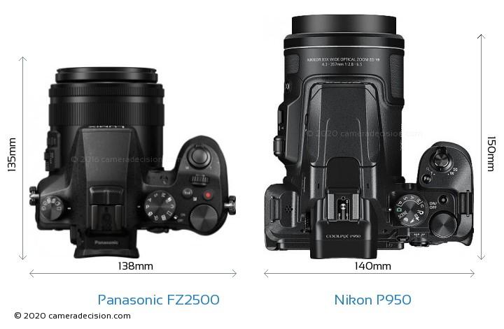 Panasonic FZ2500 vs Nikon P950 Camera Size Comparison - Top View