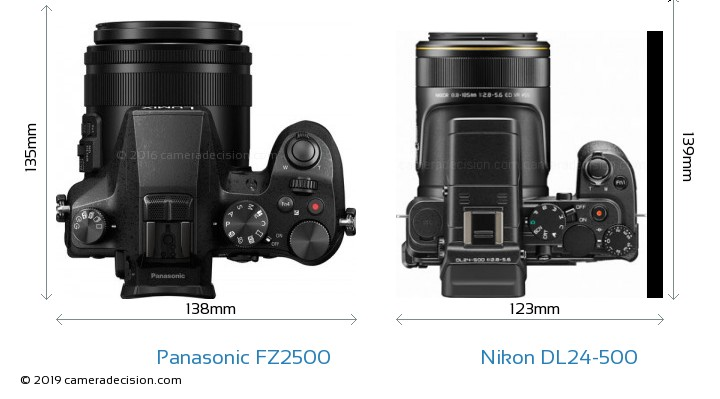 Panasonic FZ2500 vs Nikon DL24-500 Camera Size Comparison - Top View