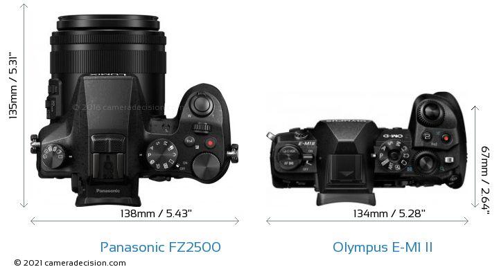 Panasonic FZ2500 vs Olympus E-M1 II Camera Size Comparison - Top View
