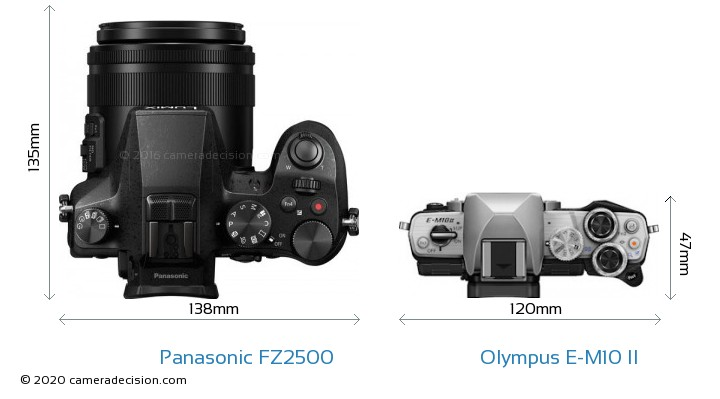 Panasonic FZ2500 vs Olympus E-M10 II Camera Size Comparison - Top View