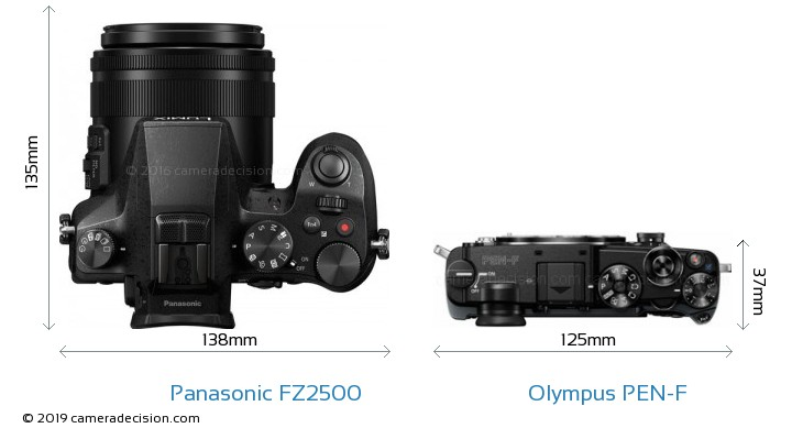 Panasonic FZ2500 vs Olympus PEN-F Camera Size Comparison - Top View