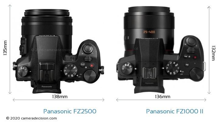 Panasonic FZ2500 vs Panasonic FZ1000 II Camera Size Comparison - Top View