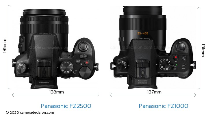 Panasonic FZ2500 vs Panasonic FZ1000 Camera Size Comparison - Top View