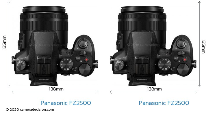Panasonic FZ2500 vs Panasonic FZ2500 Camera Size Comparison - Top View