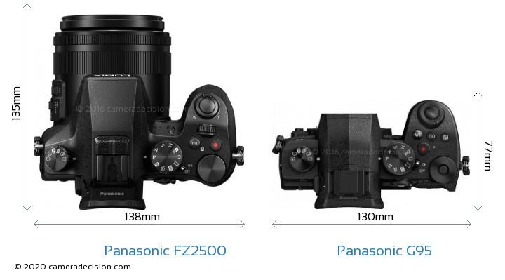 Panasonic FZ2500 vs Panasonic G95 Camera Size Comparison - Top View