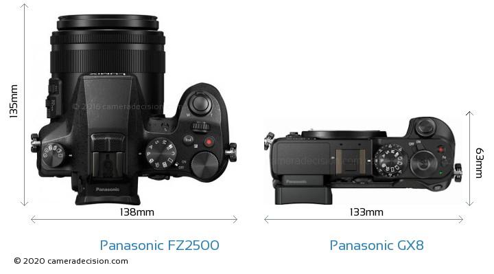 Panasonic FZ2500 vs Panasonic GX8 Camera Size Comparison - Top View
