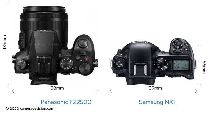 Panasonic FZ2500 vs Samsung NX1 Camera Size Comparison - Top View