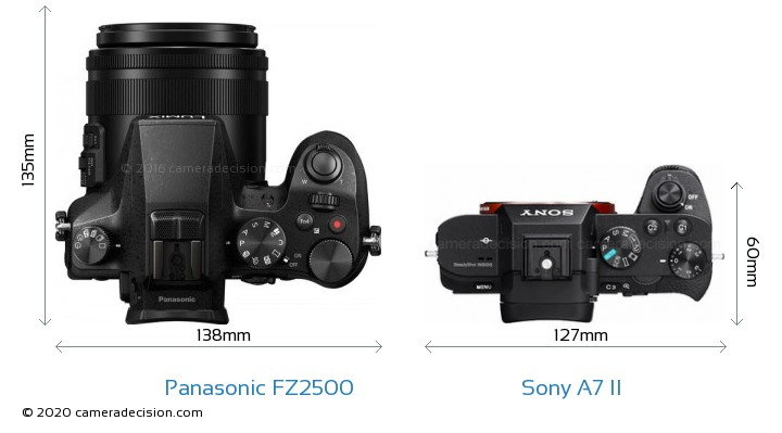 Panasonic FZ2500 vs Sony A7 II Camera Size Comparison - Top View