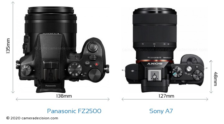 Panasonic FZ2500 vs Sony A7 Camera Size Comparison - Top View