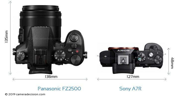 Panasonic FZ2500 vs Sony A7R Camera Size Comparison - Top View