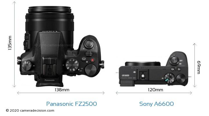 Panasonic FZ2500 vs Sony A6600 Camera Size Comparison - Top View