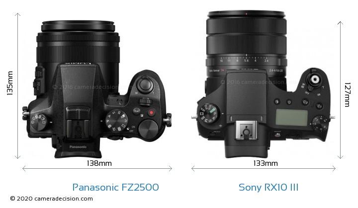 Panasonic FZ2500 vs Sony RX10 III Camera Size Comparison - Top View