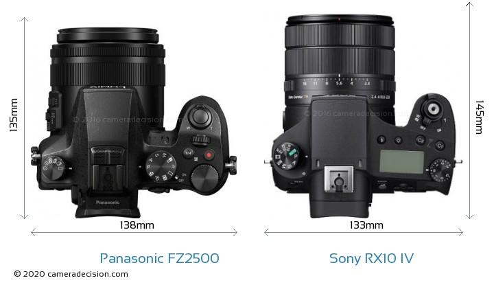 Panasonic FZ2500 vs Sony RX10 IV Camera Size Comparison - Top View