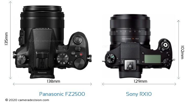 Panasonic FZ2500 vs Sony RX10 Camera Size Comparison - Top View