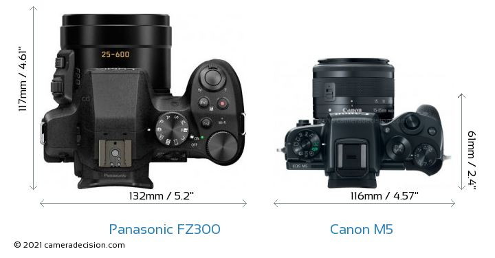 Panasonic FZ300 vs Canon M5 Camera Size Comparison - Top View