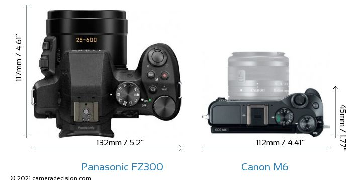 Panasonic FZ300 vs Canon M6 Camera Size Comparison - Top View