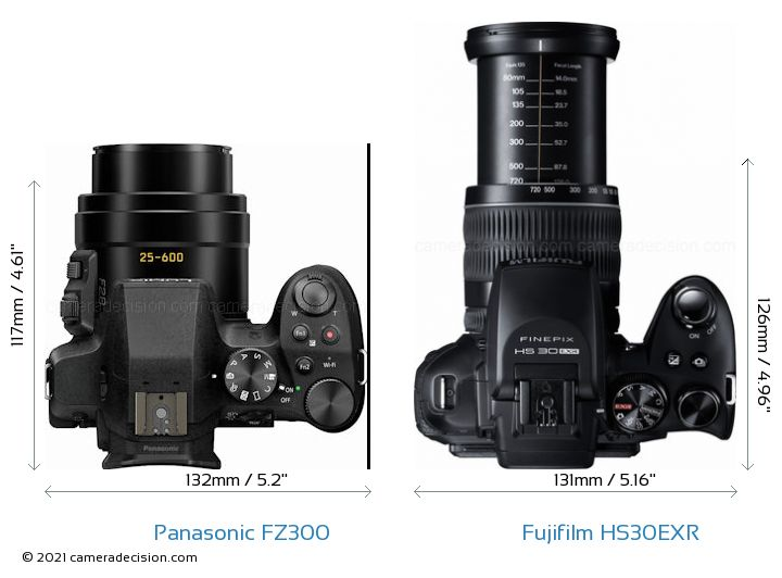 Panasonic FZ300 vs Fujifilm HS30EXR Camera Size Comparison - Top View