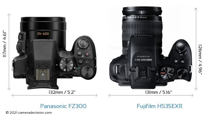 Panasonic FZ300 vs Fujifilm HS35EXR Camera Size Comparison - Top View