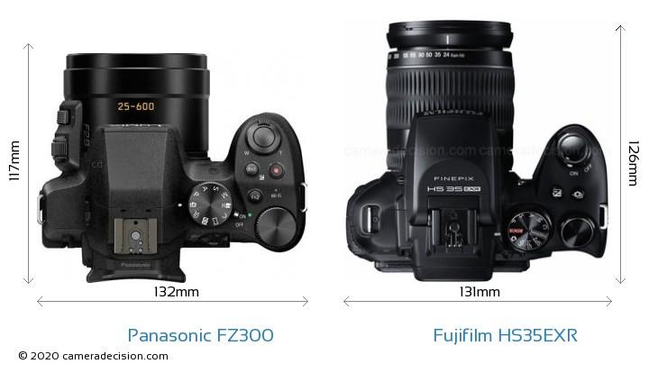 Panasonic FZ300 vs Fujifilm HS35EXR Camera Size Comparison - Top View
