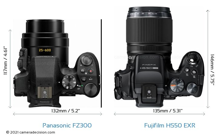 Panasonic FZ300 vs Fujifilm HS50 EXR Camera Size Comparison - Top View