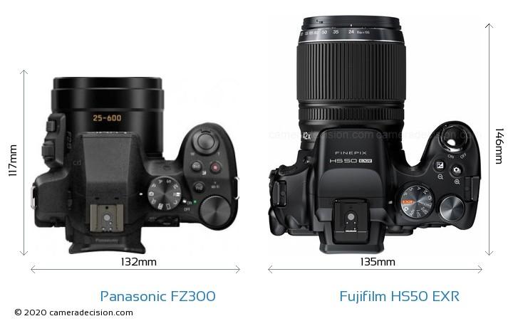 Panasonic FZ300 vs Fujifilm HS50 EXR Camera Size Comparison - Top View