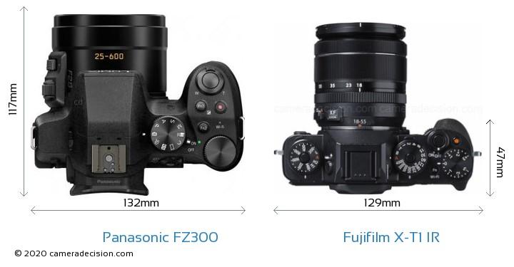 Panasonic FZ300 vs Fujifilm X-T1 IR Camera Size Comparison - Top View