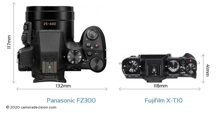 Panasonic FZ300 vs Fujifilm X-T10 Camera Size Comparison - Top View