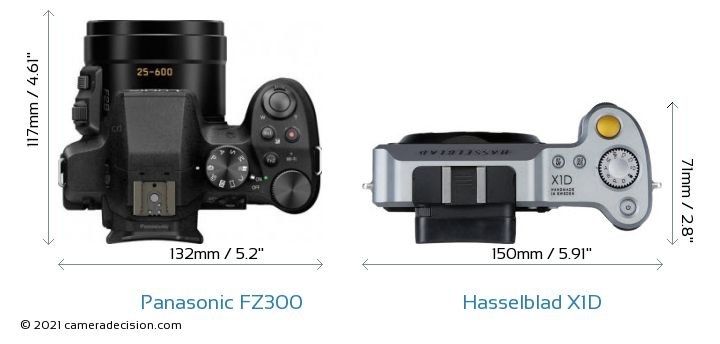Panasonic FZ300 vs Hasselblad X1D Camera Size Comparison - Top View