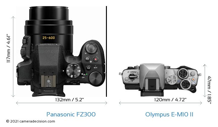 Panasonic FZ300 vs Olympus E-M10 II Camera Size Comparison - Top View